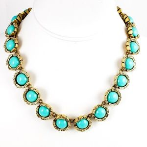 J. Crew Statement Necklace Turquoise Color Stones
